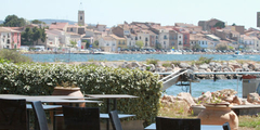 Vue sur Bouzigues depuis la terrasse du restaurant La Côte de Bleue (crédits photos: networld-fabrice Chort)