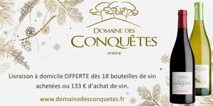 Domaine des Conquêtes à Aniane offre la livraison à domicile dès 18 bouteilles de vin achetées.