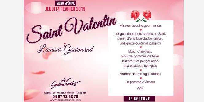 Le restaurant Les Gourmands Montpellier fête l'amour avec le menu Saint-Valentin.(® facebook les gourmands)