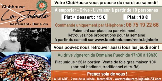 Restaurant La Jalade Montpellier propose un service de livraison et de plats à emporter