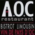 Logo du restaurant AOC dans le quartier Port Marianne face à la Mairie de Montpellier